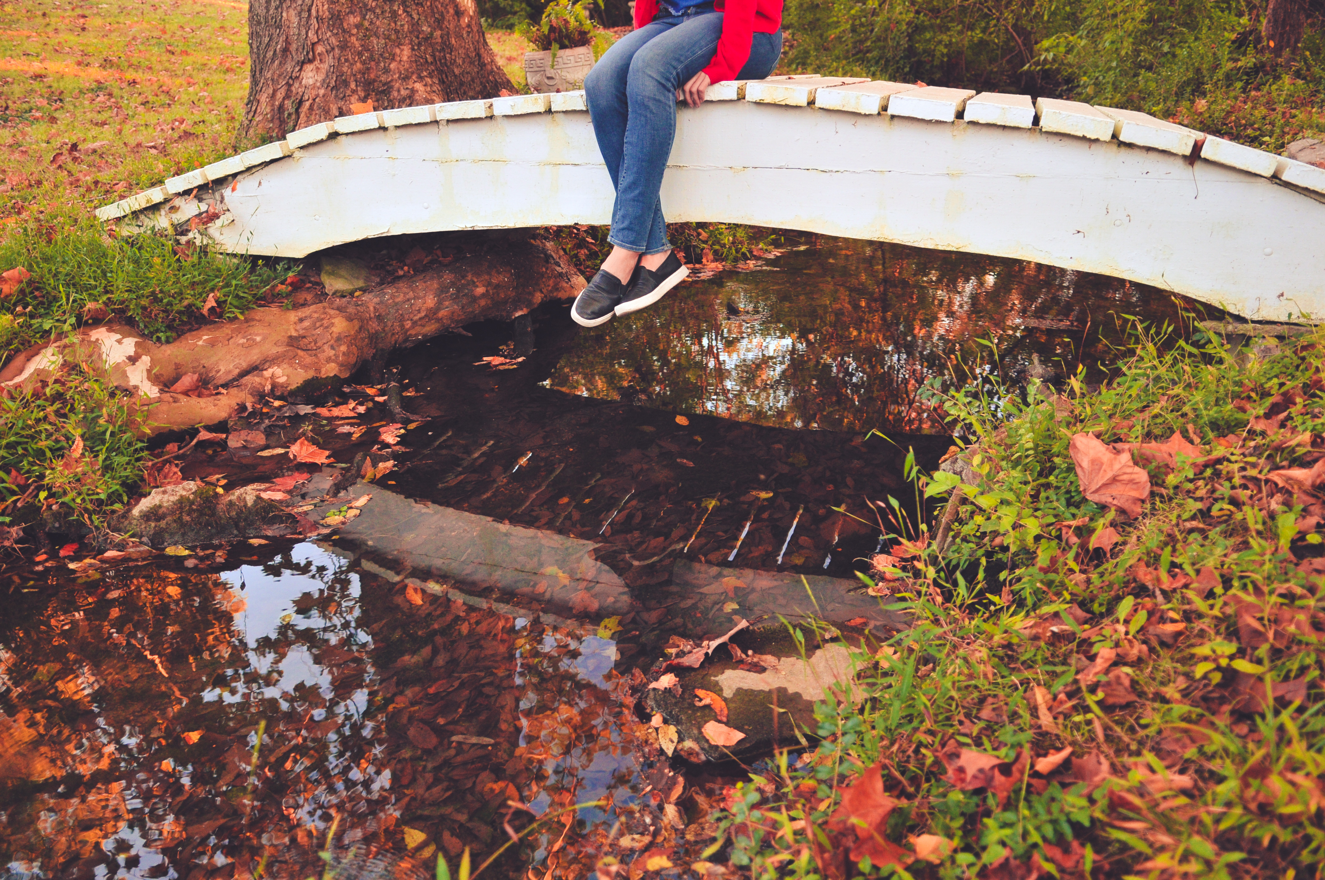 Girl Sitting On Bridge With Stream And Fall Leaves_ (1)